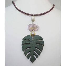 Pendant with freshwater pearl and wood leaf and semi-precious stone