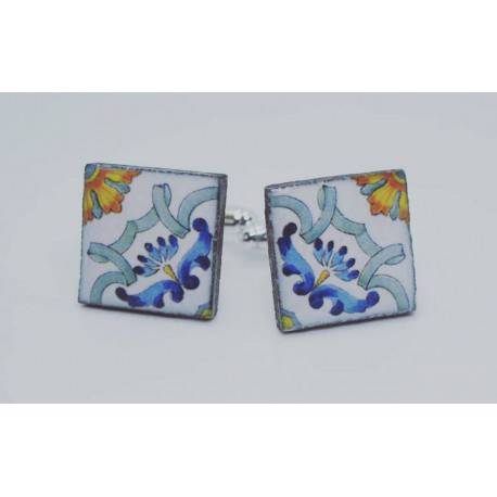 Square cufflinks with enamelled lava lapilli (Sorrento design)