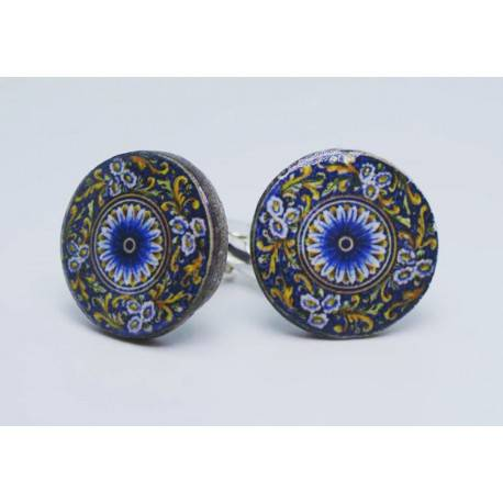 Round cufflinks with enamelled lava lapilli (Rose window design)