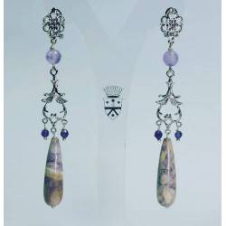 Chandelier earrings with amethyst and jasper