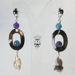 Silver earrings with baroque pearls, mother of pearl, angelite and amethyst