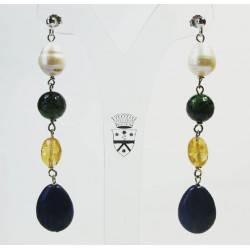 Silver earrings with baroque freshwater pearls, rubyzoisite, citrine quartz and lapis lazuli