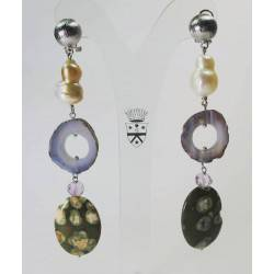 Earrings with baroque pearls, agate of Botswana, amethyst and rhyolite
