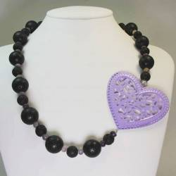Necklace with lava stone, fluorite and a large enamelled heart