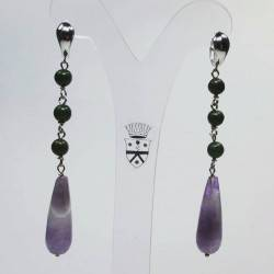 Silver earrings with amethyst and African jade