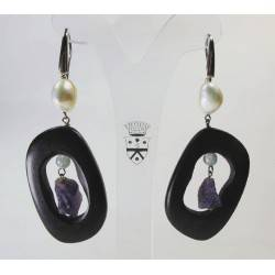 Silver earrings with pearls, ebony, amethyst and aquamarine