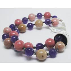 Bracelet with amethyst, rhodonite and hematite