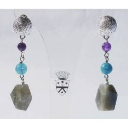 Rhodium plated brass earrings with labradorite, angelite and amethyst
