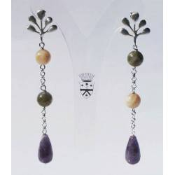 Long silver earrings with amethyst, pink moonstone and labradorite
