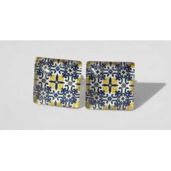 Square cufflinks with cabochon glass