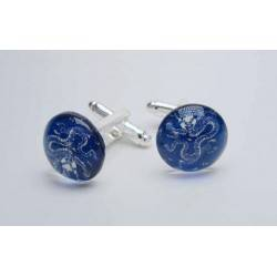 Round cufflinks with cabochon glass (Dragon design)