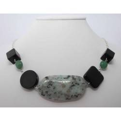 Necklace with green jasper, black onyx and aventurine