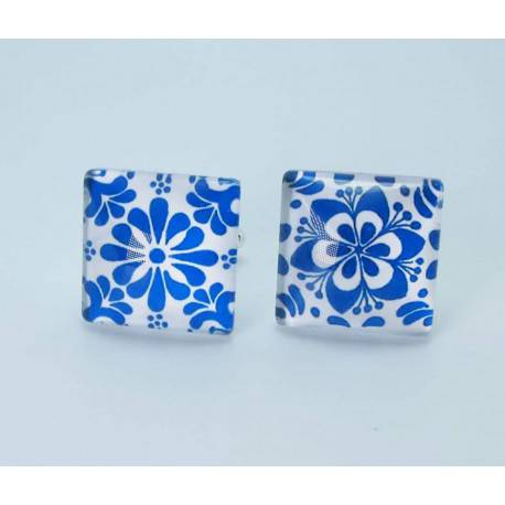 "Square cufflinks with cabochon glass ""different but complementary"""