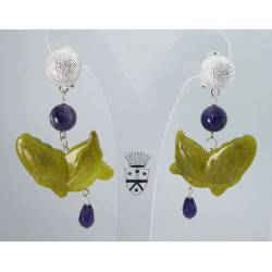 Earrings with Burma jade butterflies and amethyst