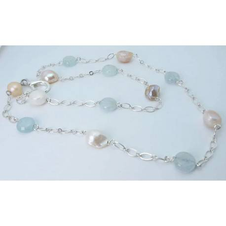Necklace with baroque pearls and aquamarine