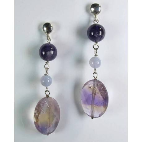 Silver earrings with bolivian ametrine, chalcedony and amethyst