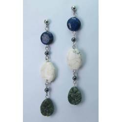 Earrings with lapis lazuli, howlite, green jasper and hematite
