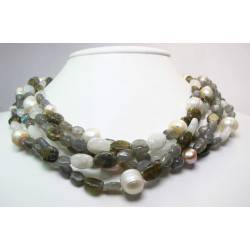 Multistrand necklace with labradorite, moonstone and baroque pearls