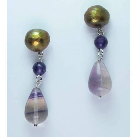 Earrings with brown pearls, amethysts and fluorite