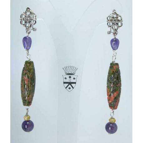 Earrings with carved unakite, amethysts and citrine quartz