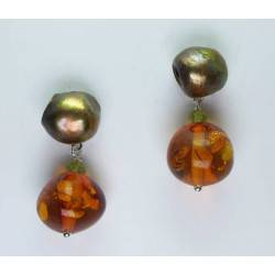 Earrings with brown pearls, amber and peridot