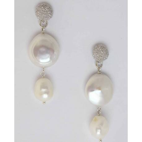 Silver earrings with white large pearls