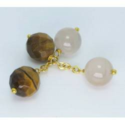 Brass cufflinks with tiger eye and agate