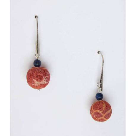 Earrings with madrepora and lapis lazuli