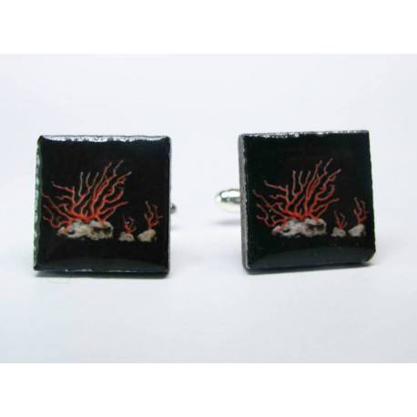 Cufflinks with enamelled lava lapilli (coral design)