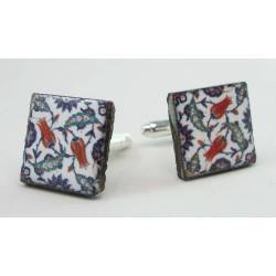 Cufflinks with enamelled lava lapilli (Tulip design)