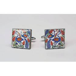Cufflinks with enamelled lava lapilli (peacocks and tulip)