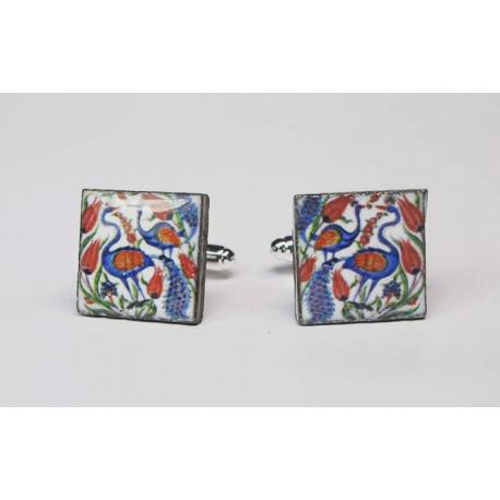 Cufflinks with enamelled lava lapilli (flamingos with tulip)