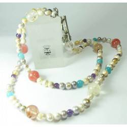 Necklace in two strands and bracelet with pearls, amethyst, angelite and quartz