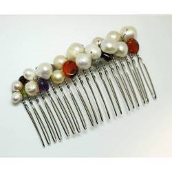 Hair comb with pearls and semi-precious stones