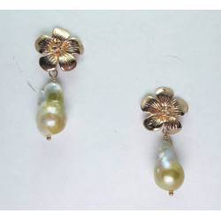 Pink gold plated silver earrings with pearls