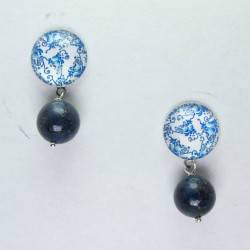 Earrings with lapis lazuli and azulejos glass