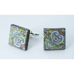 Cufflinks with enamelled lava lapilli (waves design)