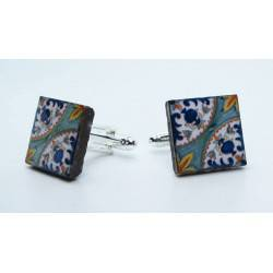 Cufflinks with enamelled lava lapilli (pomegranate design)