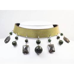 Leather choker and bracelet with jade and labradorite