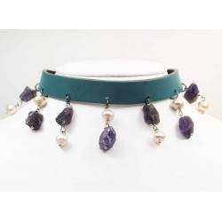 Leather choker and bracelet with amethyst and pearls