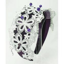 Alice band with embroidery and amethyst