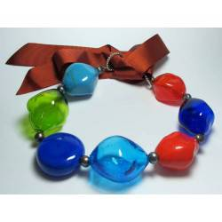 Murano Glass necklace with pearls and gros-grain ribbon