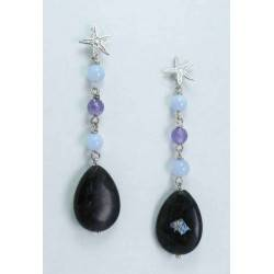Silver earrings with astrophyllite, amethyst and chalcedony