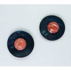 Earrings with petroleum Tahiti mother of pearl and cabochon rhodocrosite