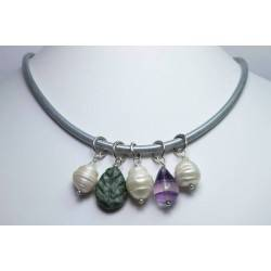Silver leather necklace with jasper, fluorite and baroque pearl