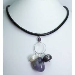 Black leather necklace with amethyst, white and grey baroque pearls
