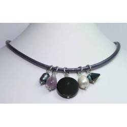 Violet leather necklace with fluorite, onyx, Swarovski crystal, grey and white baroque pearls