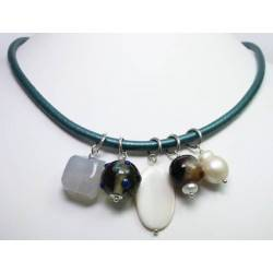 Green leather necklace with chalcedony, murrina, mother of pearl, agate and baroque pearls