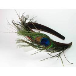 Brown silk headband with peacock feathers