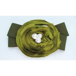 Bow French Barrette with green gros-grain and silk camelia with baroque pearl